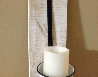 Vintage Ladle Wall candle Holder with pallet Wood