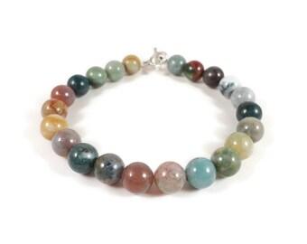 Jasper Gemstone Bracelet, Beaded Stone Bracelet, Indian Agate Bracelet, Multicolor Gemstone Bracelet, Fancy Jasper Bracelet, Beaded Jewelry