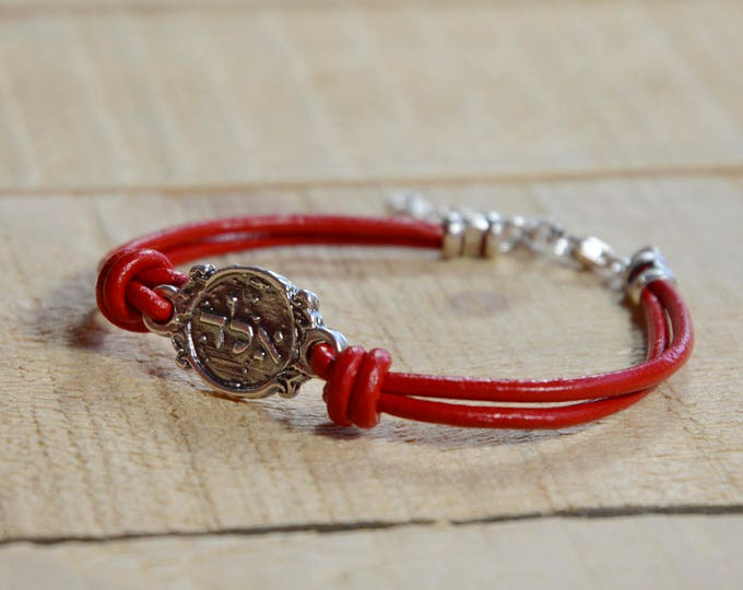 Red Leather 925 Sterling Silver Protection Charm Bracelet
