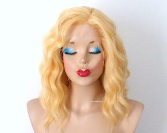 Lace front wig. Yellow wig. Pastel wig. Short wig. Beach waves hairstyle wig. Durable heat friendly wig for everyday wear or Cosplay.