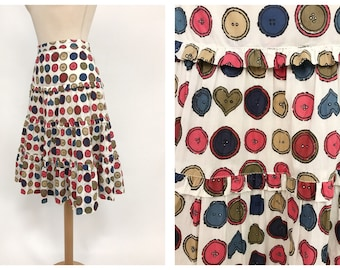 MOSCHINO CHEAP and CHIC 1990s buttons cotton print flounced skirt - size S/M