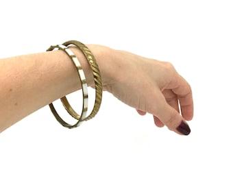 Vintage Brass MOP Bangles - 1970s Brass / Mother of Pearl Shell Inlay Bracelets - Set of 2 - Slip On Bracelet - Minimalist Jewelry