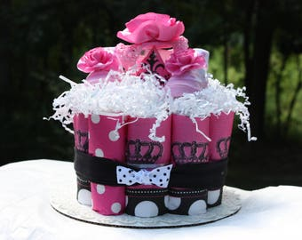 Pink Princess Baby Diaper Cake - Girl Baby Shower - Princess Baby Shower - Polka Dots