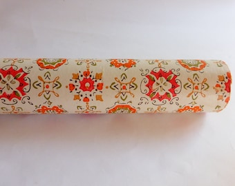 Vintage 1960s MCM Wallpaper Abstract Orange Gold Green w Gilt