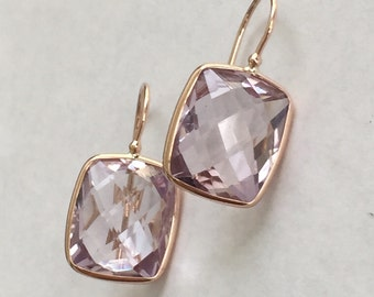 14k solid rose gold and pink amethyst earrings