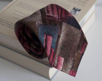 Vintage silk tie, geometric mens necktie, silk neck tie, cravat cravatte / classic beige blue brown pink