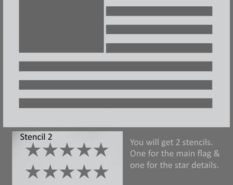 American flag stencil, USA flag wall art, Star spangles banner, painting stencils, furniture/wall stencils, paint flag art on any surface