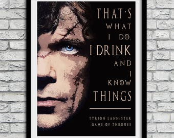 Game of thrones, Tyrion Lannister, Game of thrones poster, game of thrones gift,  tyrion, tyrion wall art,  Tyrion Lannister wall,  Poster