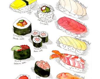 Types of Sushi Art Print / Japanese Food Watercolor w/ Tamago, Maki, Maguro, Saba, Uni, Ikura, Anago, Hamachi, Sake, Tekka