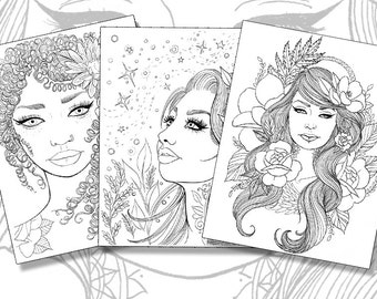 Girls with Tattoos Pack - Adult Coloring Pages - Magnolias, Sunflowers, Roses, Flowers - Instant Download PDF - Print your own coloring book