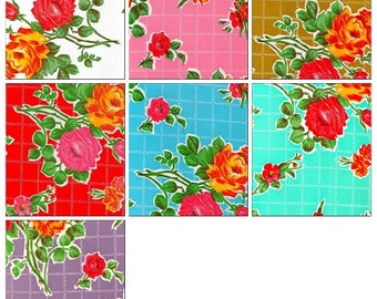 OilclothByTheYard   Rose and Grid oilcloth fabric  Your Choice of Color