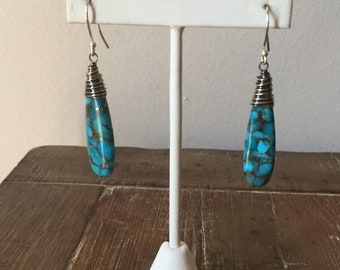 Southwestern-style Turquoise and Sterling Silver dangle earrings