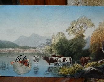 1912 colored French Postcard Landscape