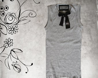 Tank top gray/Sequence bow tie/Sleeveless knit tee