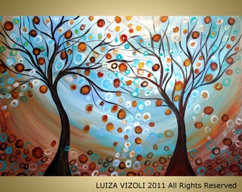 Original Abstract Large Modern Landscape Painting Fantasy Trees Oil Fine Art by Luiza Vizoli