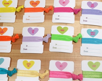 Valentine's Day Conversation Hearts Cards - Hair Ties Giveaway Packs for Kids, Classes, and BFF's