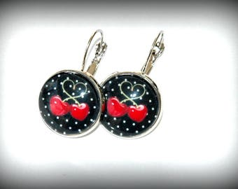 Cherry hearts earrings Red
