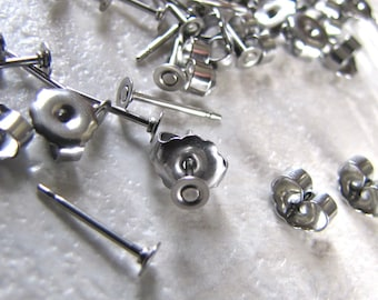 100 pcs 3mm Surgical Stainless Steel Stud Earring Posts and Backs jewelry findings supplies
