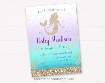 Mermaid Birthday Party Invitation, Gold Glitter Mermaid Party Invitation DIGITAL FILE