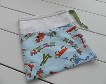 Storage for child, with DrawString pouch fabric toys