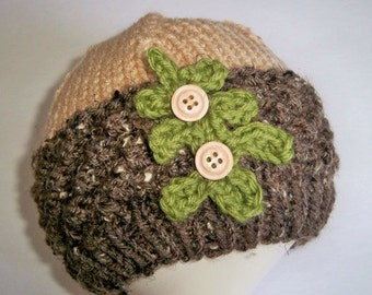Acorn Cap, Hand Knit Hat for Baby, Brown and Tan Beanie, Baby Shower Gift, Hand Made Gift, Fall Cap, Novelty Baby Hat