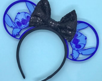 Stitch 3D Printed Disney Ears with choice of sequin bow