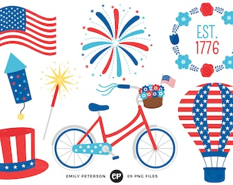 50% OFF SALE! 4th of July Clip Art, Patriotic Clipart, America Clip Art - Commercial Use, Instant Download