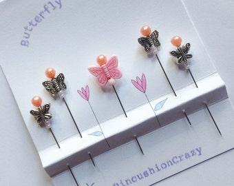 Butterfly Garden Pins - Gift for Quilter - Pincushion Pins - Fancy Straight Pins - Girlfriend Gift - Sewing Accessory - Embellishment Pins