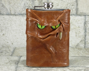 Flask 8 Ounce Brown Leather With Face Monster Goth Horror Groomsman Gift