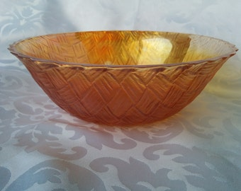 Carnival Glass Fruit Bowl - Marigold