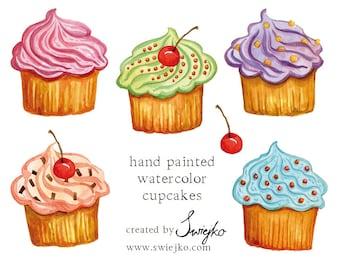 Watercolor Clipart, Cupcakes, Watercolour Cupcakes, Digital Clip Art,m Digital Clipart