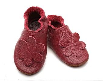 soft sole leather baby shoes infant DarkRed  Evtodi e-14-m 2
