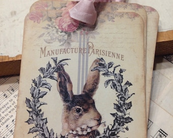 le Lapin Rabbit Tags Easter tags Bunny Tags Easter Basket Tags Set of 4