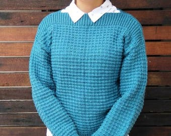 Lge Teal Blue Hand Knitted Sweater Pullover Jumper