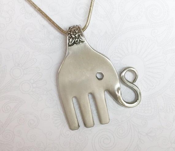 Elephant Fork Necklace, Elephant Pendant, Silverware Jewelry, 'Jubilee' 1953