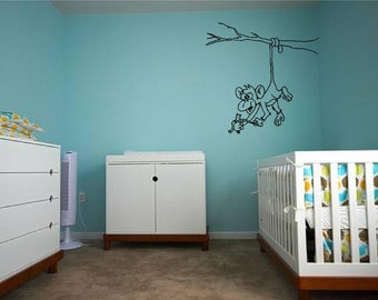 Hanging Cheeky Monkey - Wall Decal - Wall art Sticker - ( Black outline shown )