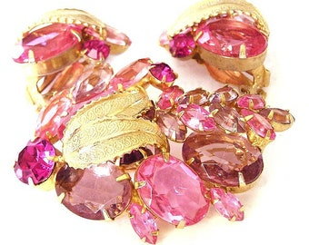 Weiss Pink Brooch and Earring Set with Metal Leaf Accents