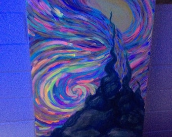 "original acrylic 15""x30"" painting - ""EMISSION"" - uv reactive"