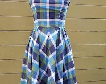 50s 1950s plaid cotton dress pinup bombshell rockabilly