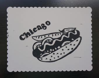 Chicago Style Hotdog - block printed postcard