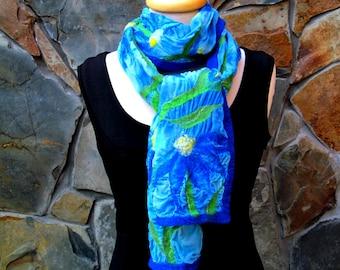Wide nuno felt scarf: Blue and aqua flower design on blue dyed silk