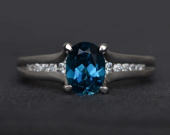 London blue topaz ring oval cut engagement ring blue gemstone ring sterling silver ring promise ring