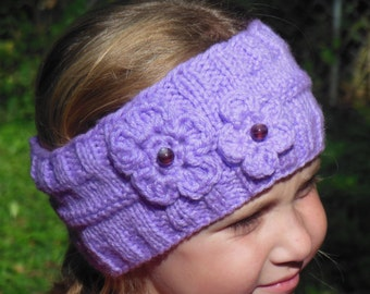 Lilac headband earwarmer with glass beads