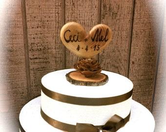 Wedding Cake Topper, Rustic Wedding Cake Topper, Wooden Heart Cake Topper, Personalized Cake Topper
