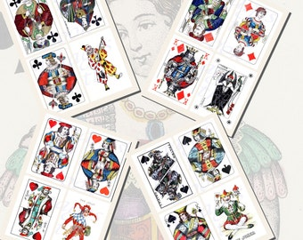 Kings, Queens, Jacks, and Jokers Playing Card Printables, POSTCARD SIZE,  (3.5 x 5 Inch  or 12.7 x 8.8 cm), 16 Total