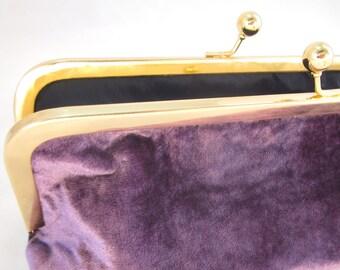 Purple Velvet Clutch Purse with Kiss-Lock Frame, 8-inch
