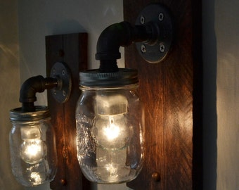 Industrial Wall Light Pair - Wall Sconce - Steampunk Light - Old Light - Pallet Wood Light -Industrial Light with or without cord