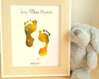 """Personalized Foil Baby Footprint Art, A4 or to fit 8 X 10"""" frame, Unframed, Nursery Picture, Foil Print, New Baby Gift, Mothers Day Gift"""