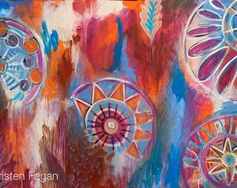 Abstract Mandalas // Original Abstract Modern Tribal Acrylic Painting - 30 x 48