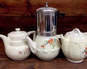 3 Hall China Co. entreprise aluminium goutte à goutte Co-O-Lator cafetières et machine à café des années 1930